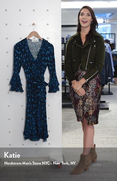 Carli Leopard Print Ruffle Silk Wrap Dress, sales video thumbnail