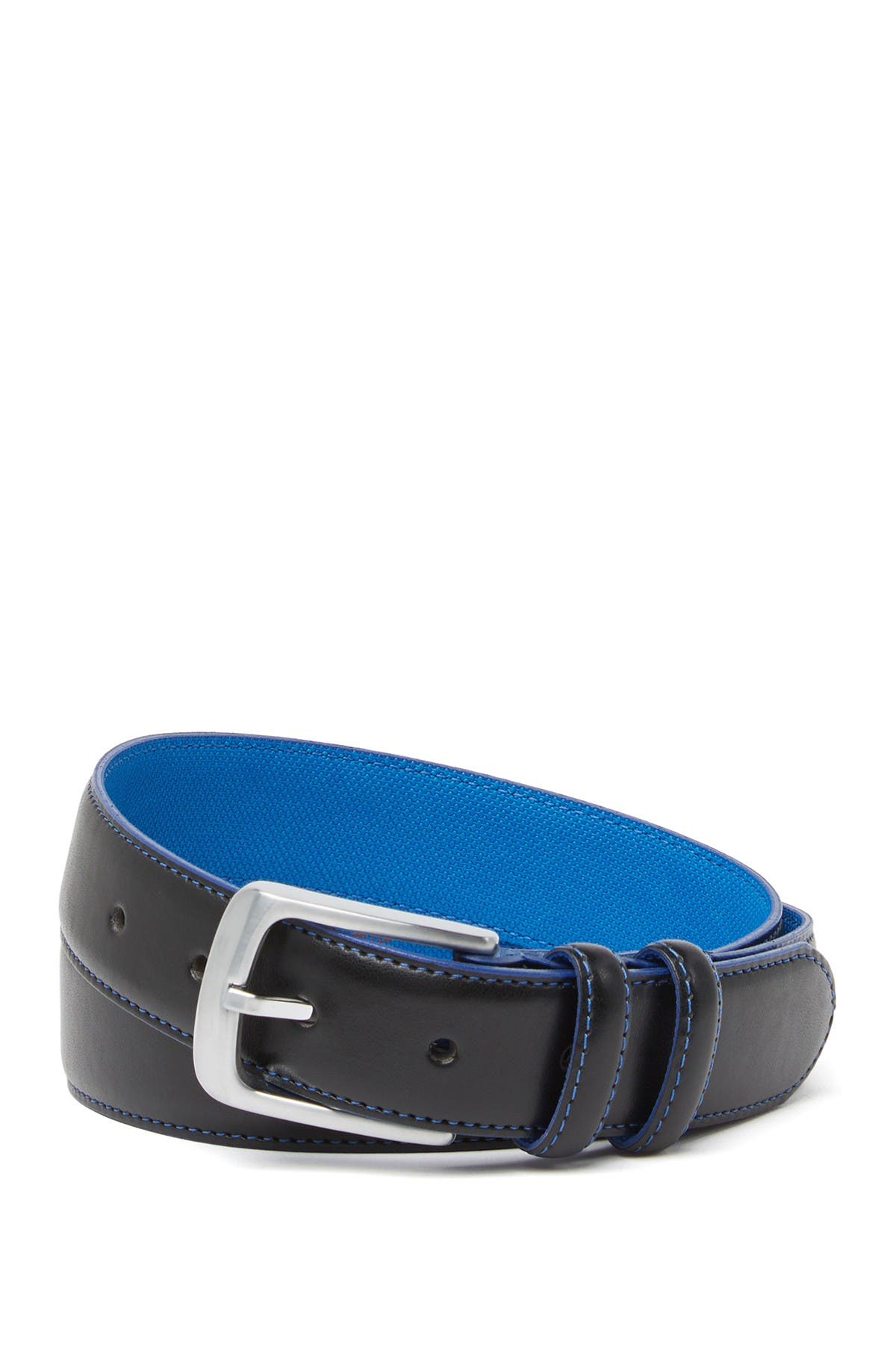 Image of Vince Camuto Blue Lined Leather Belt