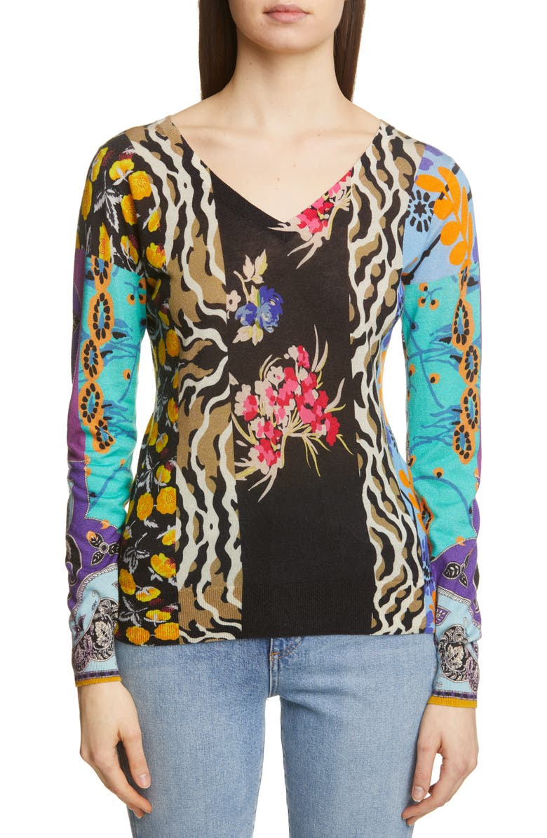 ETRO Patchwork Print Silk & Cashmere Blend Sweater, Main, color, 001
