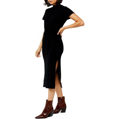 Topshop Belted Ribbed Midi Dress, US (fits like 0) - Black