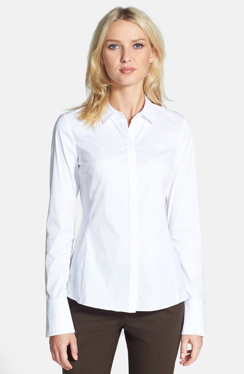 LAFAYETTE 148 NEW YORK 'Olina - Excursion Stretch' Fitted Blouse, Main, color, WHITE