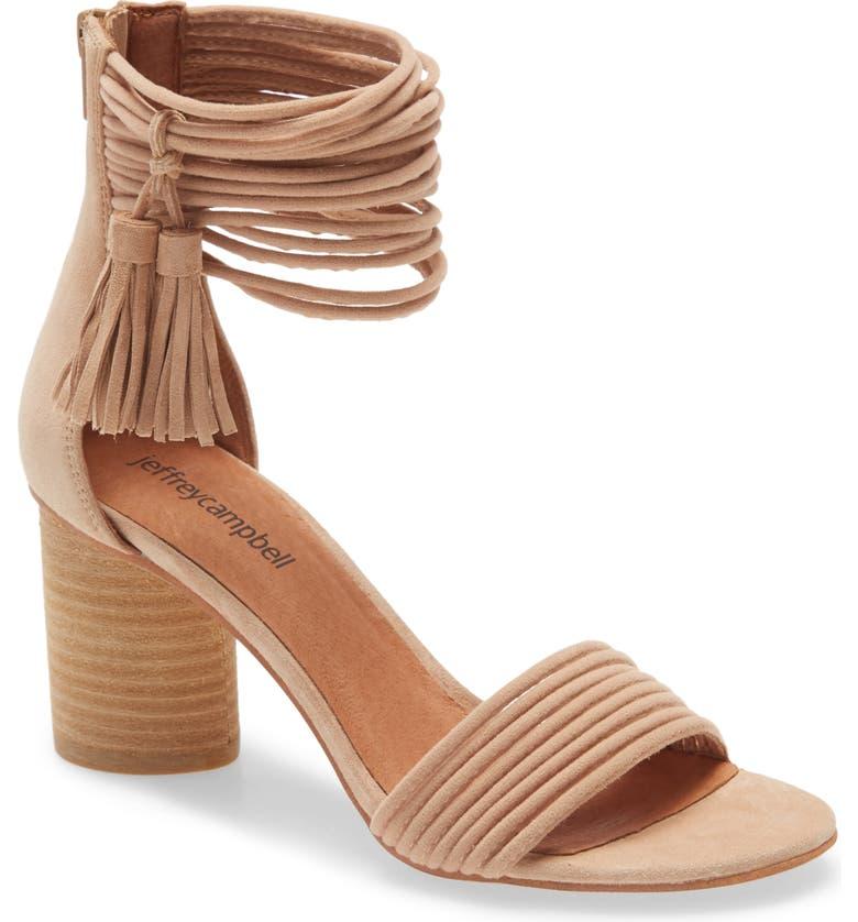 JEFFREY CAMPBELL Pallas Ankle Strap Sandal, Main, color, BEIGE SUEDE