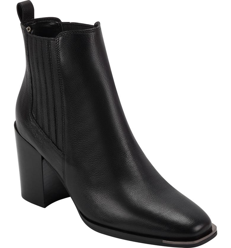MARC FISHER LTD Taline Croc-Embossed Square Toe Boot, Main, color, BLACK LEATHER