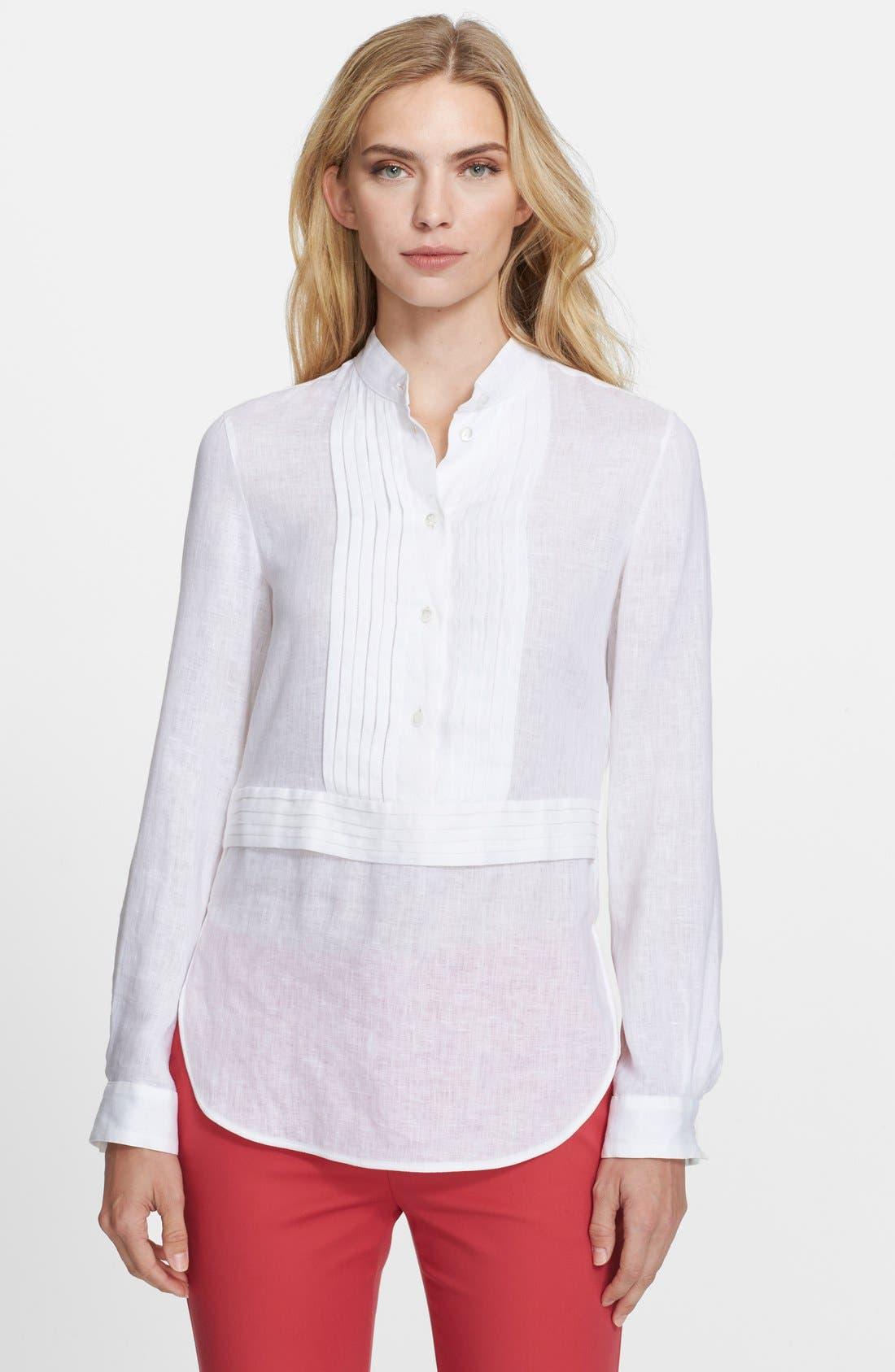 ,                             Linen Tunic Shirt,                             Main thumbnail 1, color,                             100