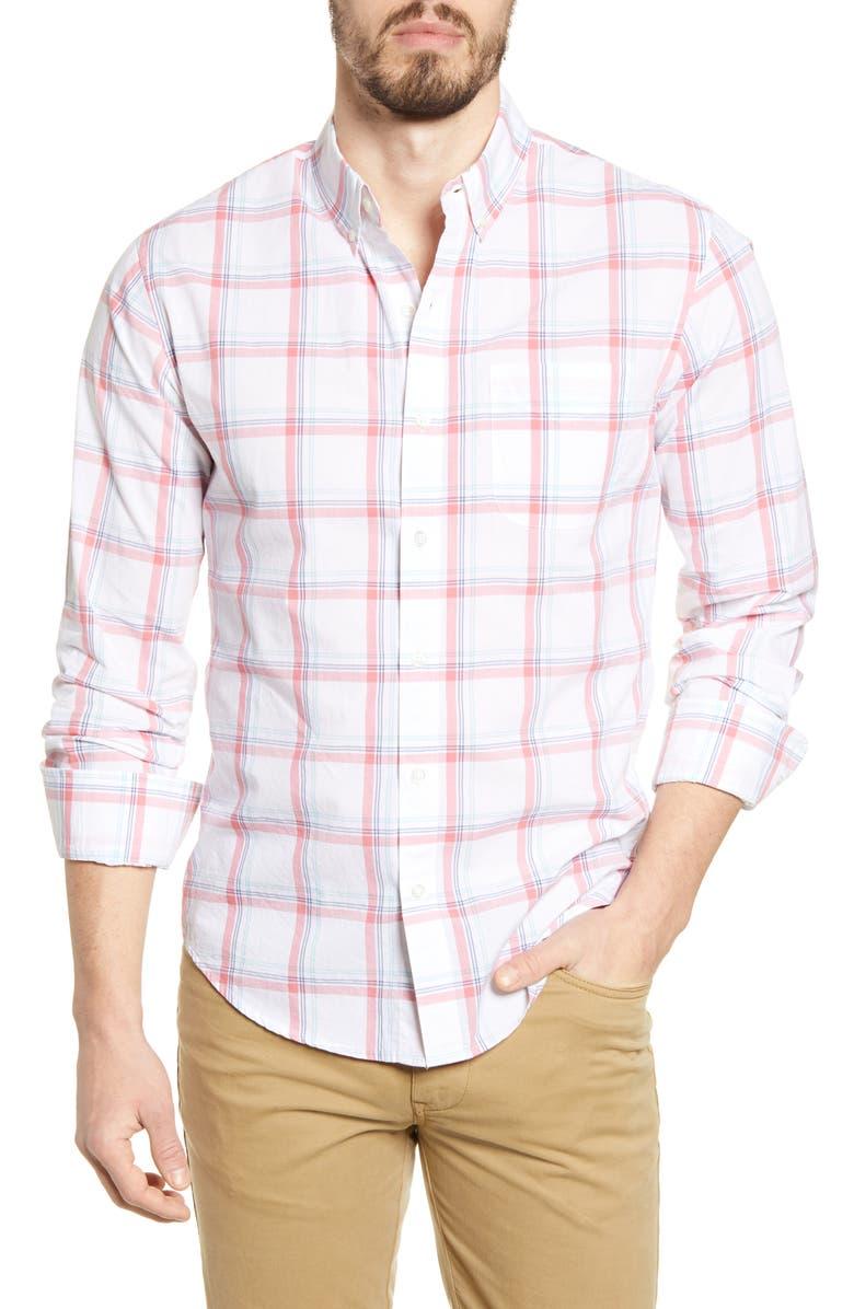BONOBOS Summer Weight Slim Fit Plaid Button-Down Shirt, Main, color, 100