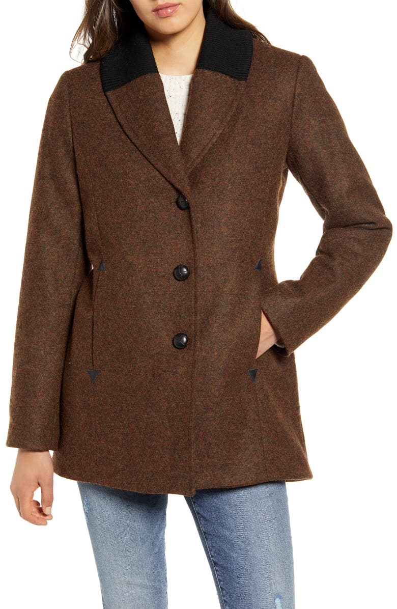 PENDLETON Hyde Park Wool Blend Riding Coat, Main, color, MAHOGANY