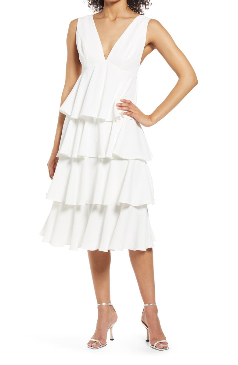 CHI CHI LONDON Plunge Neck Tiered Ruffle Cocktail Dress, Main, color, WHITE