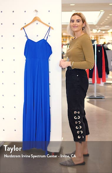 Cold Shoulder Tie Back Crepe Gown, sales video thumbnail