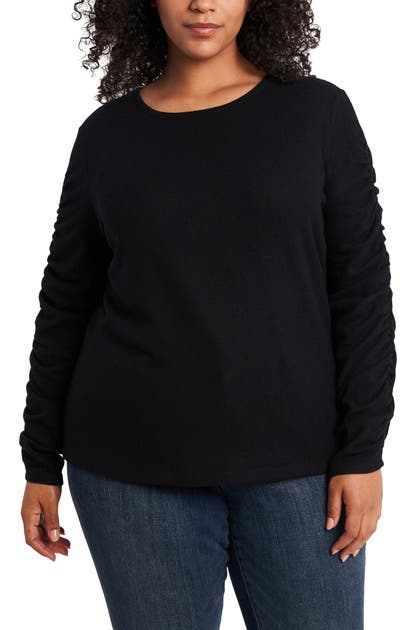 1.state RUCHED SLEEVE KNIT TOP