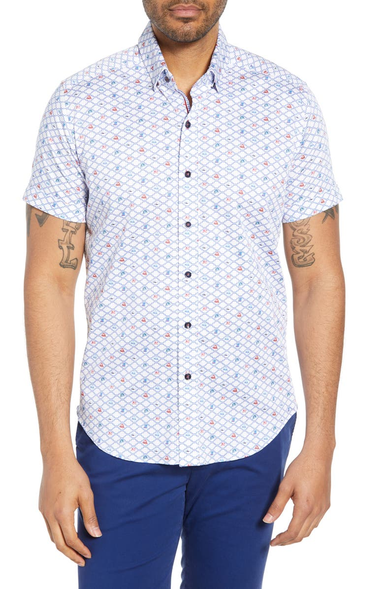 ROBERT GRAHAM Hat Trick Tailored Fit Shirt, Main, color, MULTI