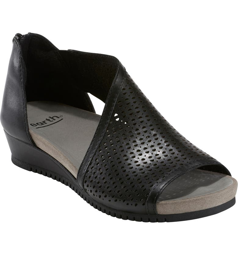 EARTH<SUP>®</SUP> Capricorn Wedge Sandal, Main, color, BLACK LEATHER