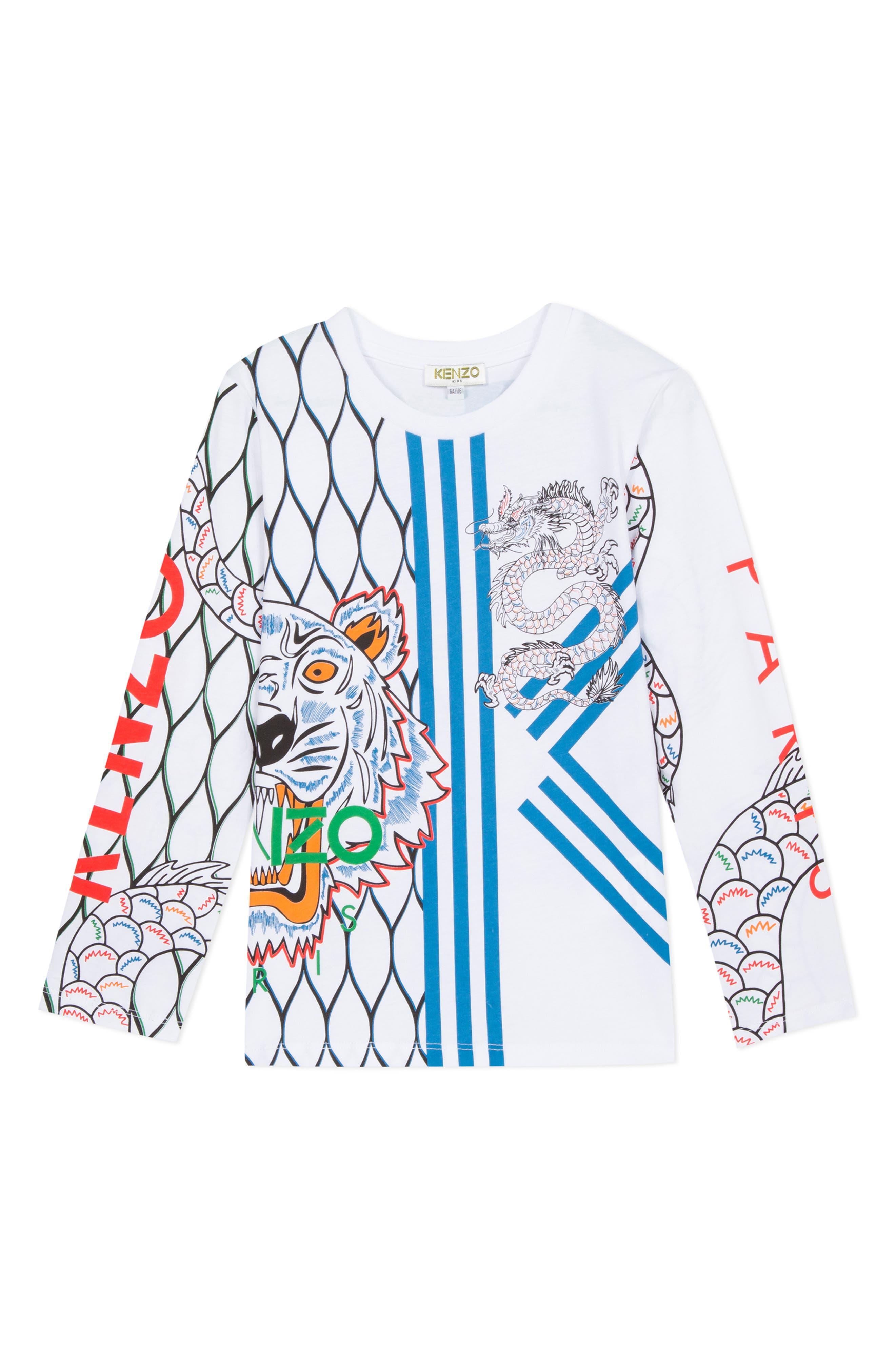 Boys Kenzo Iconic Dragon Graphic TShirt Size 8Y  White