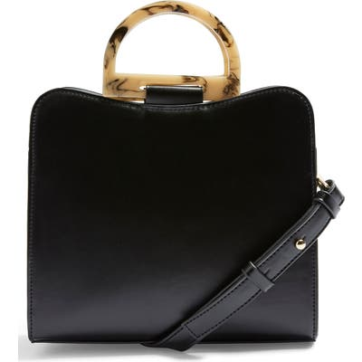 Topshop Theo Acrylic Handle Faux Leather Bag - Black