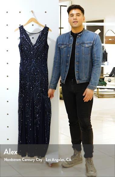 Sequin Mesh Godet Gown, sales video thumbnail