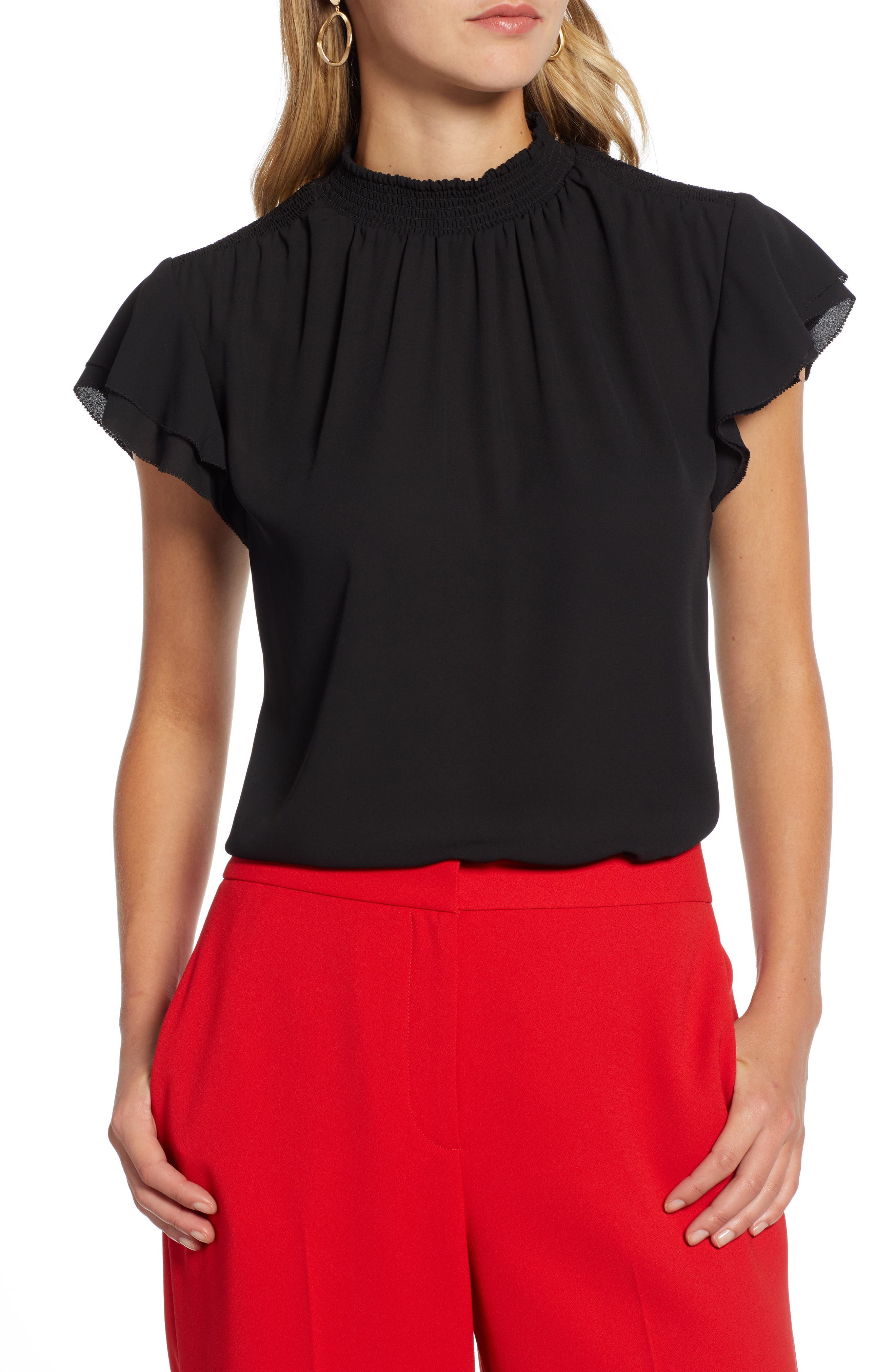 Smocked Neck Blouse, Main, color, BLACK