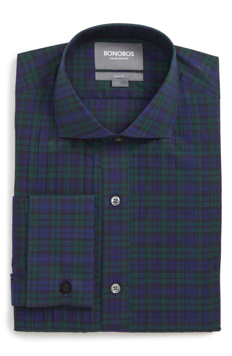 BONOBOS Holwick Slim Fit Plaid Tuxedo Shirt, Main, color, 400