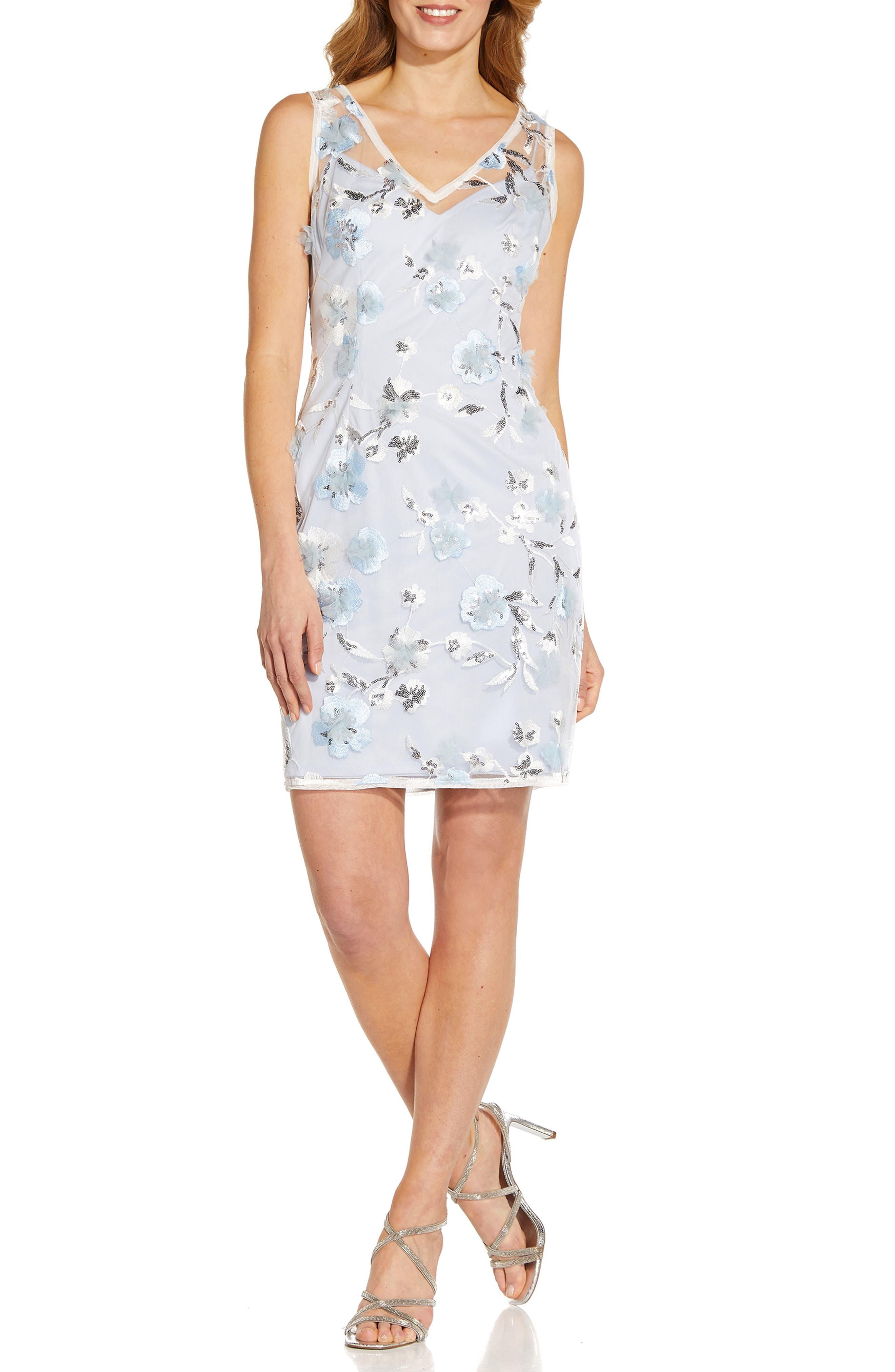 Floral Embroidery Sleeveless Sheath Dress