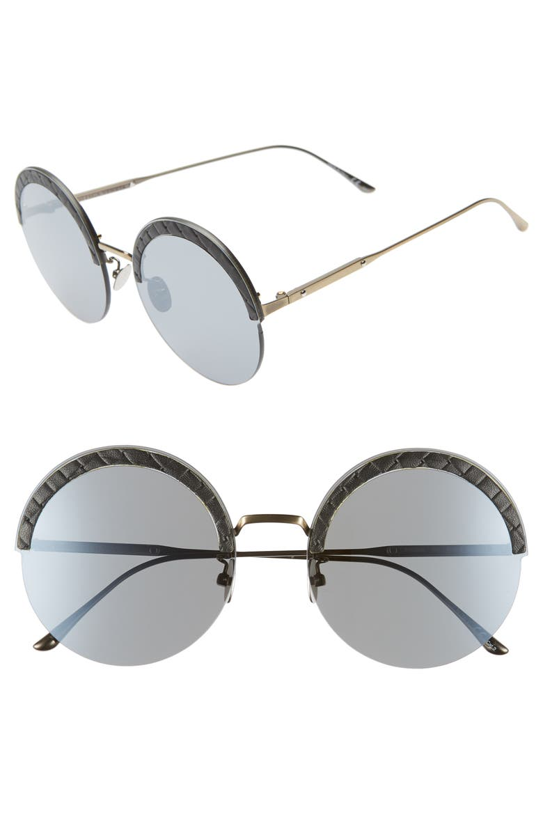 BOTTEGA VENETA 60mm Rimless Round Sunglasses, Main, color, SILVER/ BLACK/ GOLD