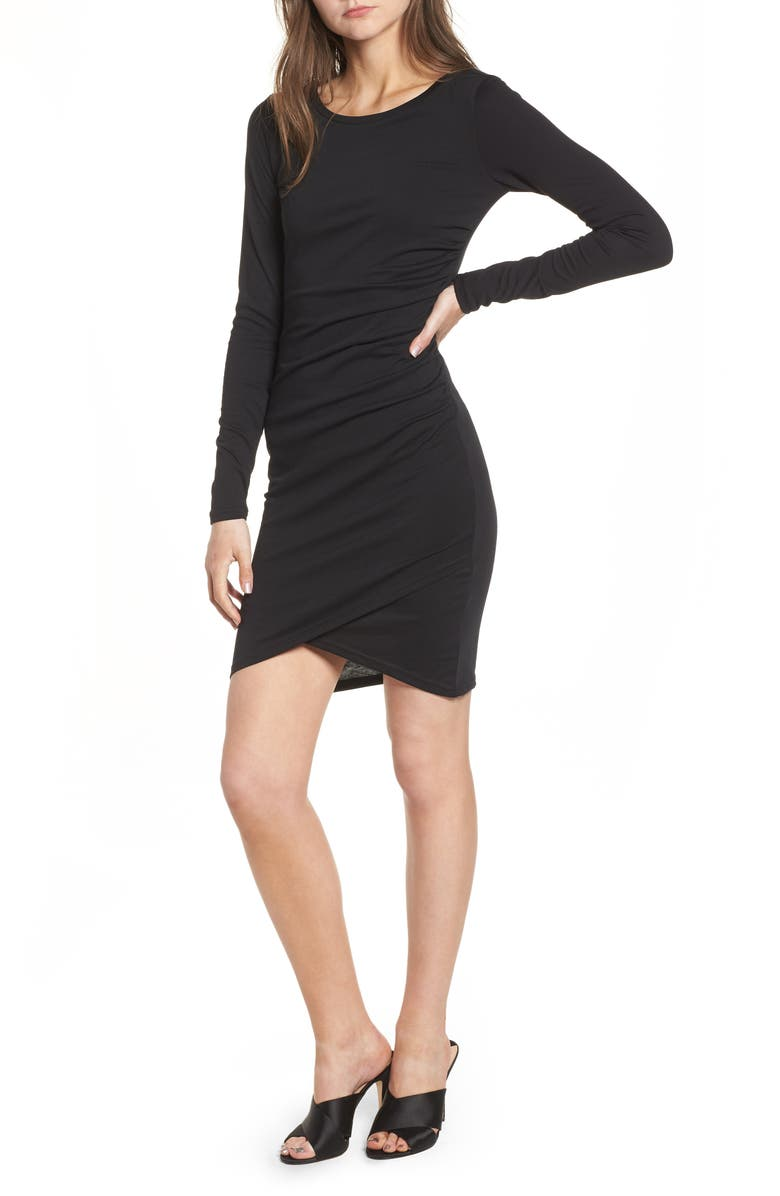 LEITH Ruched Long Sleeve Dress, Main, color, BLACK