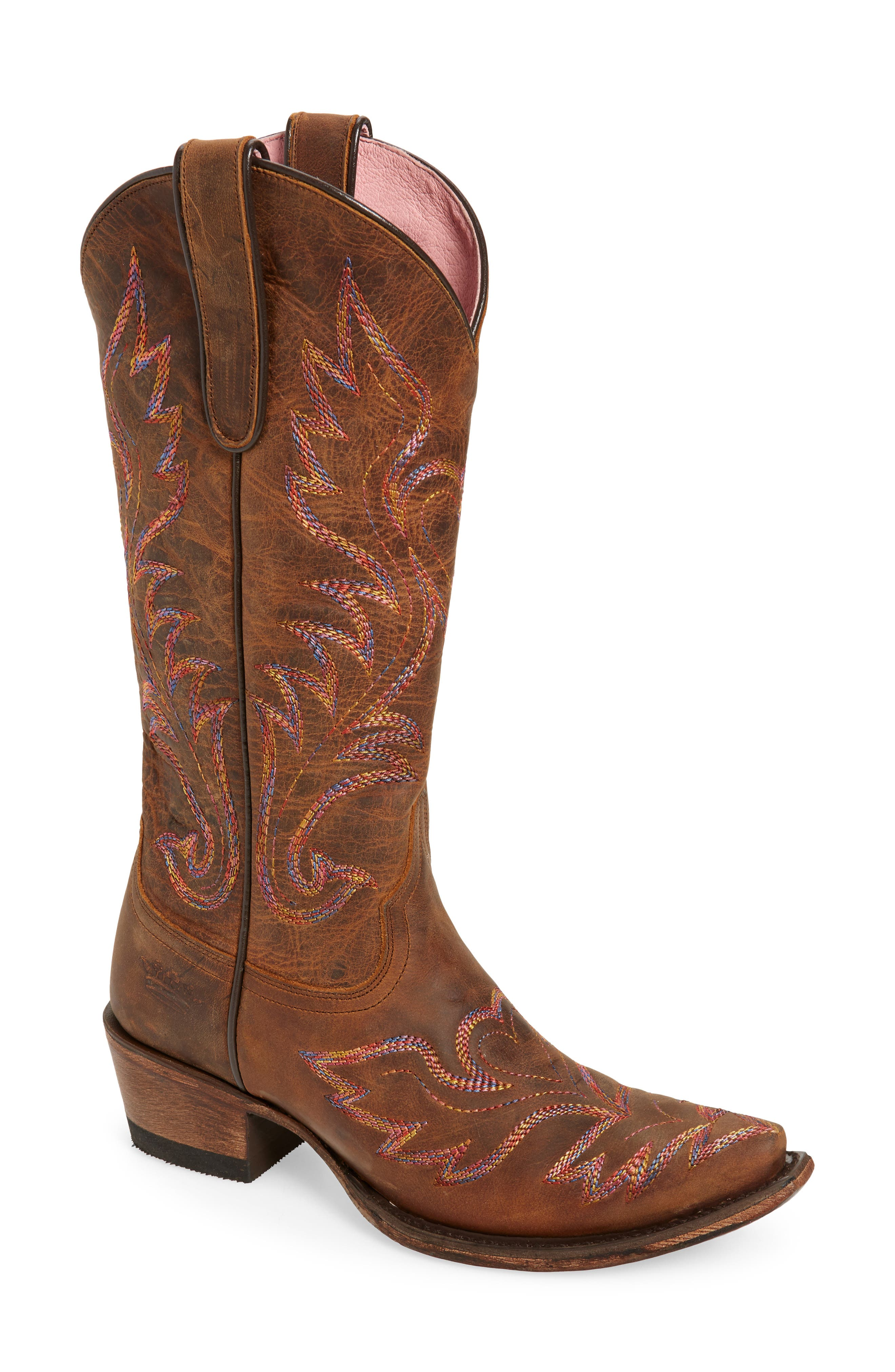 Six-row flame stitching in rainbow hues-with a winged heart embroidered at the front-dynamically details this snub-toe cowgirl boot benchcrafted in Mexico. It\\\'s part of a limited collaboration between Lane Boots and eclectic boho brand Junk Gypsy. Style Name: Lane Boots X Junk Gypsy Wildheart Boot (Women). Style Number: 6013355. Available in stores.