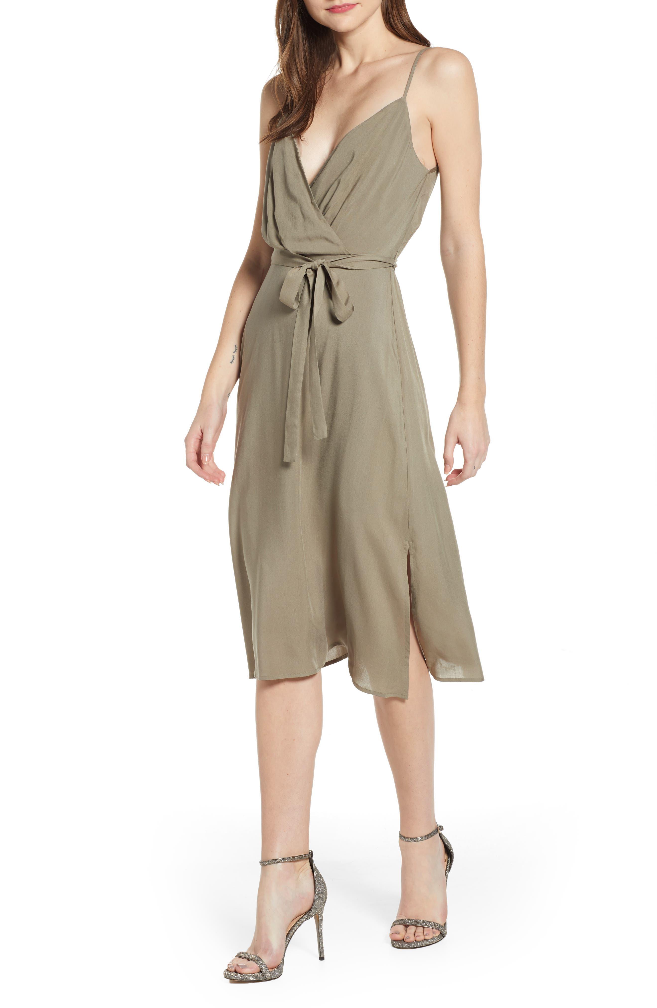 Row A Surplice Midi Dress, Green