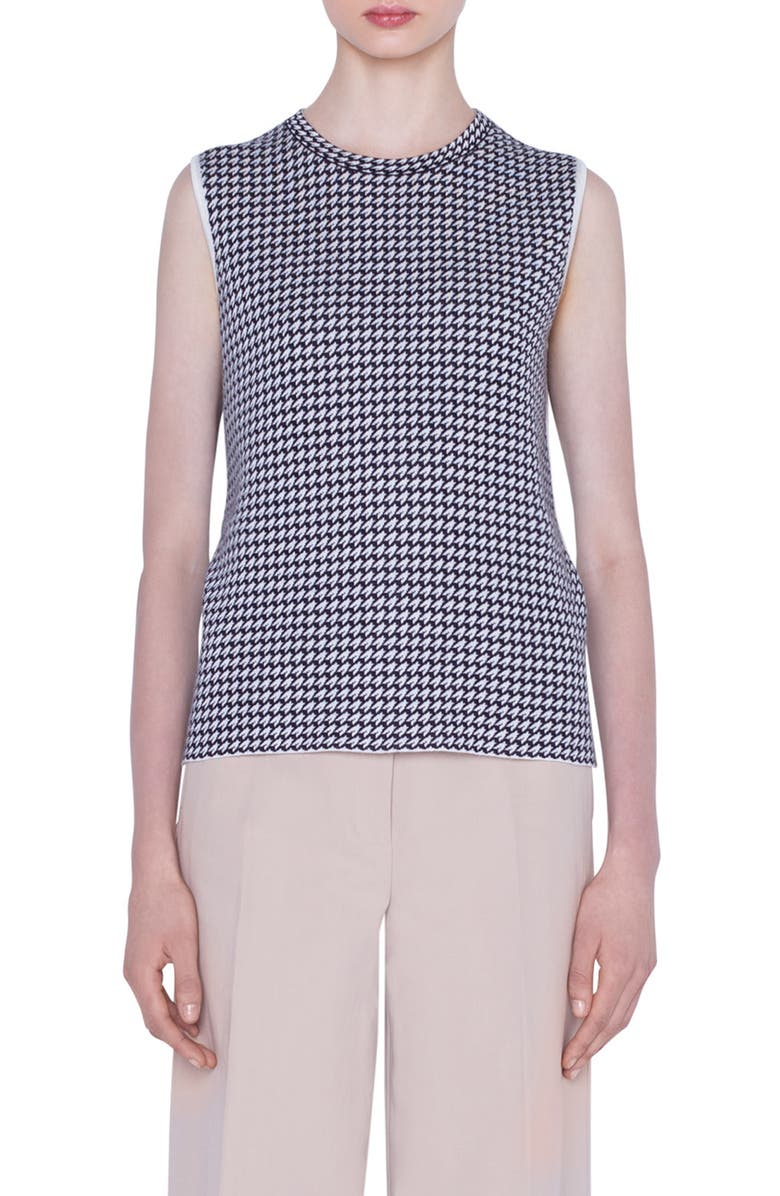 AKRIS Reversible Houndstooth Jacquard Cashmere Blend Sweater, Main, color, 911 BLACK-BIRCH