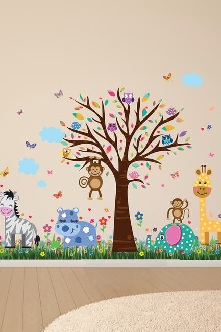 Image of WalPlus Wall Sticker Happy Animal Zoo with Grass Skirting Art Decal
