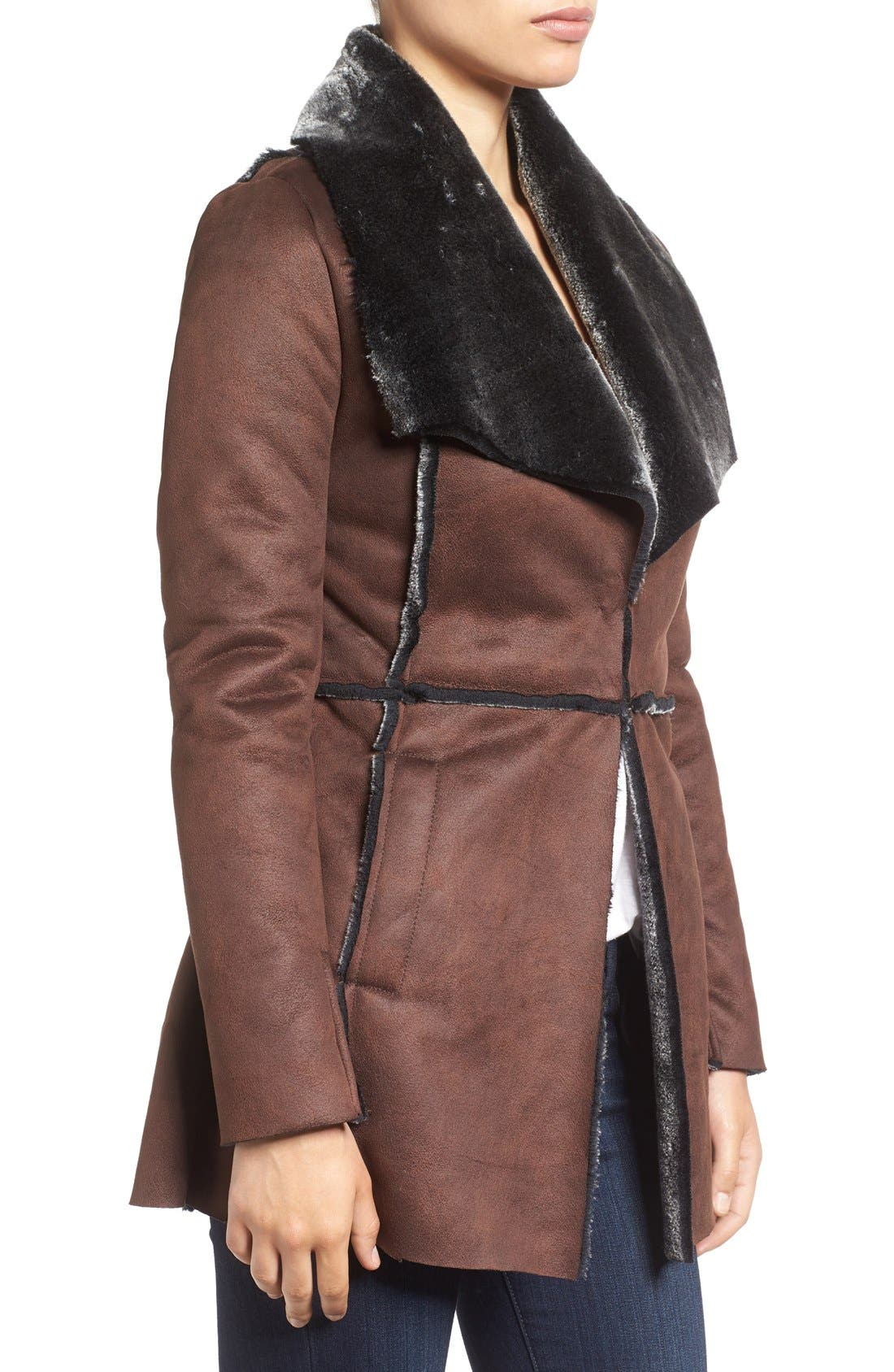 ,                             'Abigail' Faux Shearling Coat,                             Alternate thumbnail 3, color,                             201