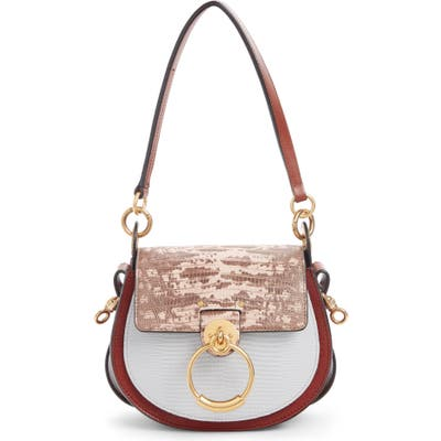Chloe Small Tess Tricolor Embossed Leather Shoulder Bag - Brown