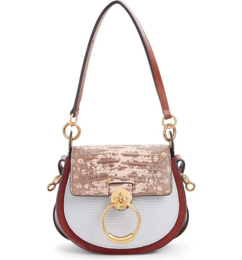 CHLOÉ Small Tess Tricolor Embossed Leather Shoulder Bag, Main, color, SEPIA BROWN