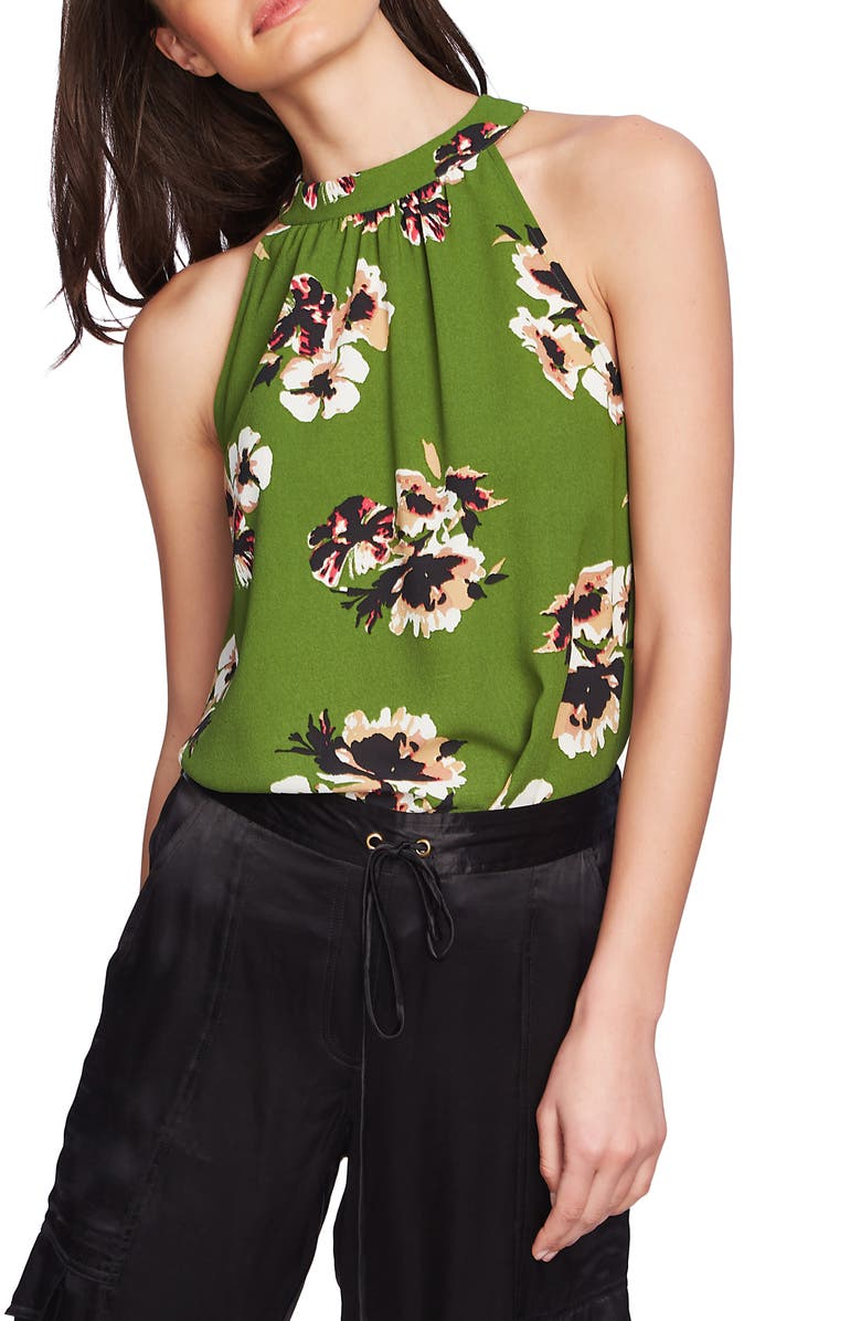 Floral Print High Halter Neck Top by 1.State