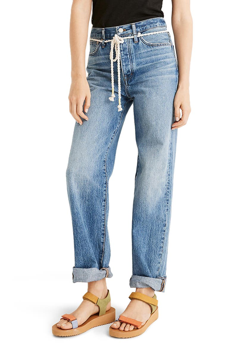 MADEWELL the Dadjean Rope Belt Jeans, Main, color, KINGSHILL WASH