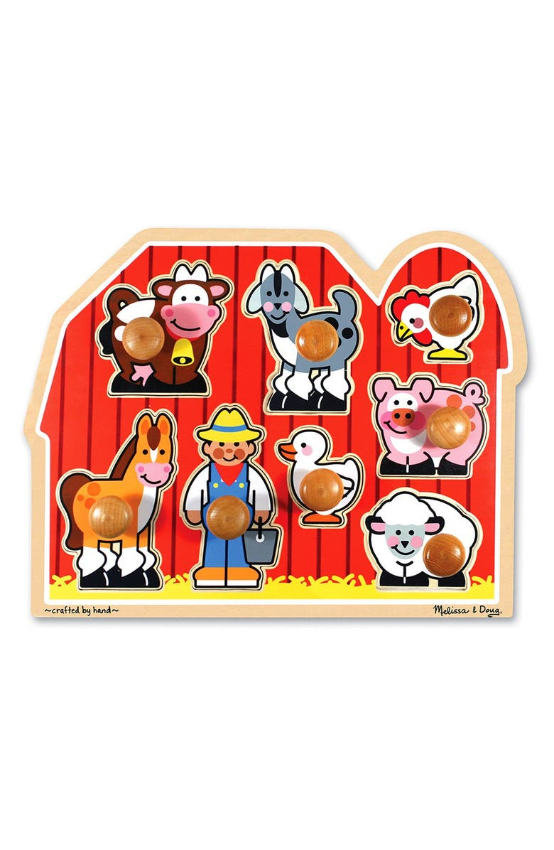 MELISSA & DOUG Farm Jumbo Knob Puzzle, Main, color, RED MULTI