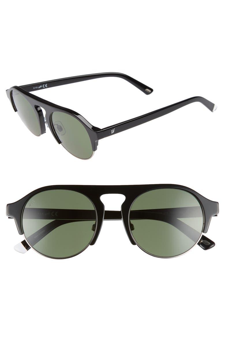 WEB 52mm Sunglasses, Main, color, SHINY BLACK/ GREEN
