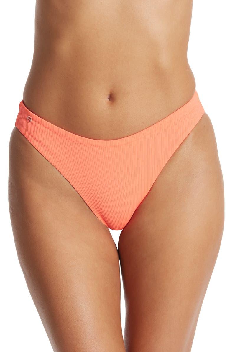 MAAJI Sublimity Ribbed Bikini Bottom, Main, color, ORANGE