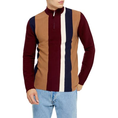 Topman Stripe Mock Neck Quarter Zip Sweater, Burgundy