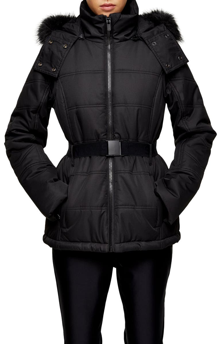 TOPSHOP SNO Water Repellent Faux Fur Trim Ski Jacket, Main, color, BLACK