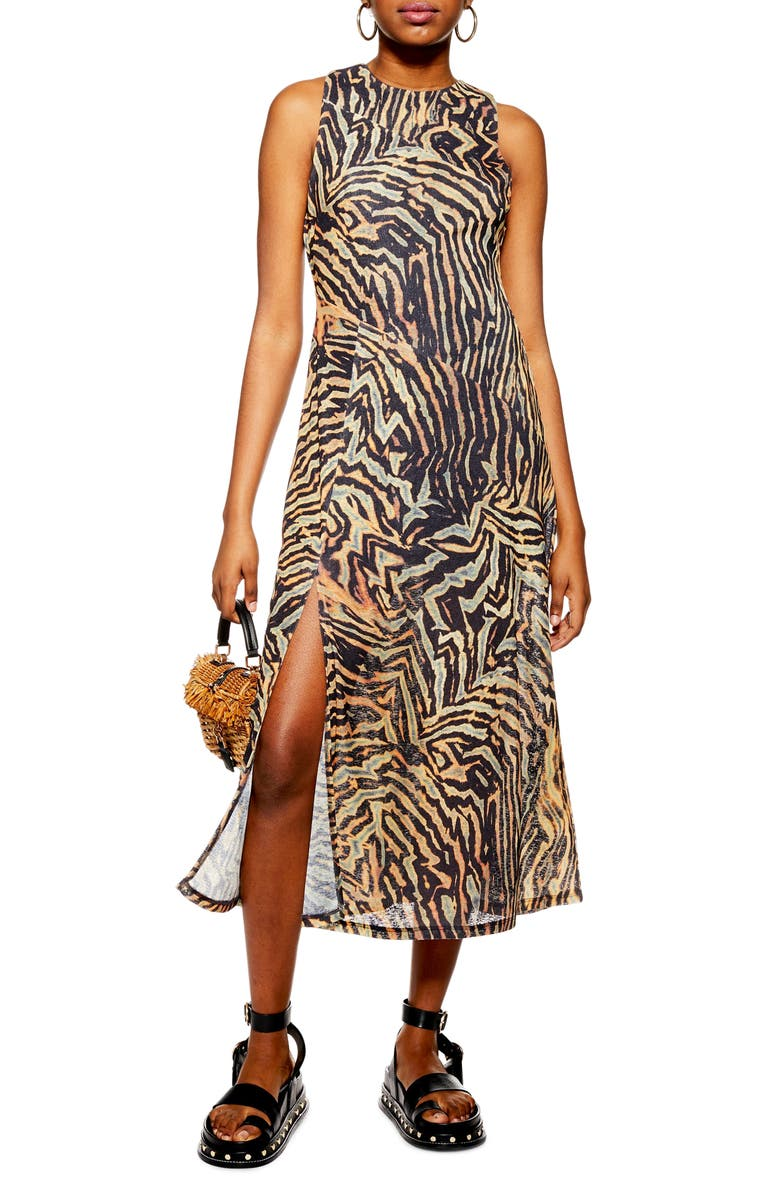 TOPSHOP Tiger Print Sleeveless Mesh Midi Dress, Main, color, 001