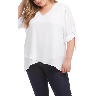 Plus Size Karen Kane Bow Sleeve Top, White