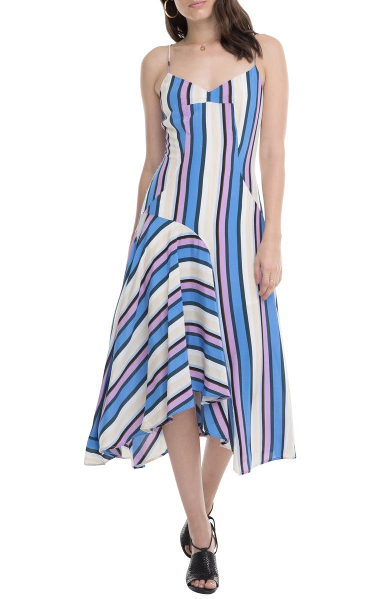 ASTR THE LABEL Ellen Directional Stripe Handkerchief Hem Dress, Main, color, PERIWINKLE SHADOW STRIPE