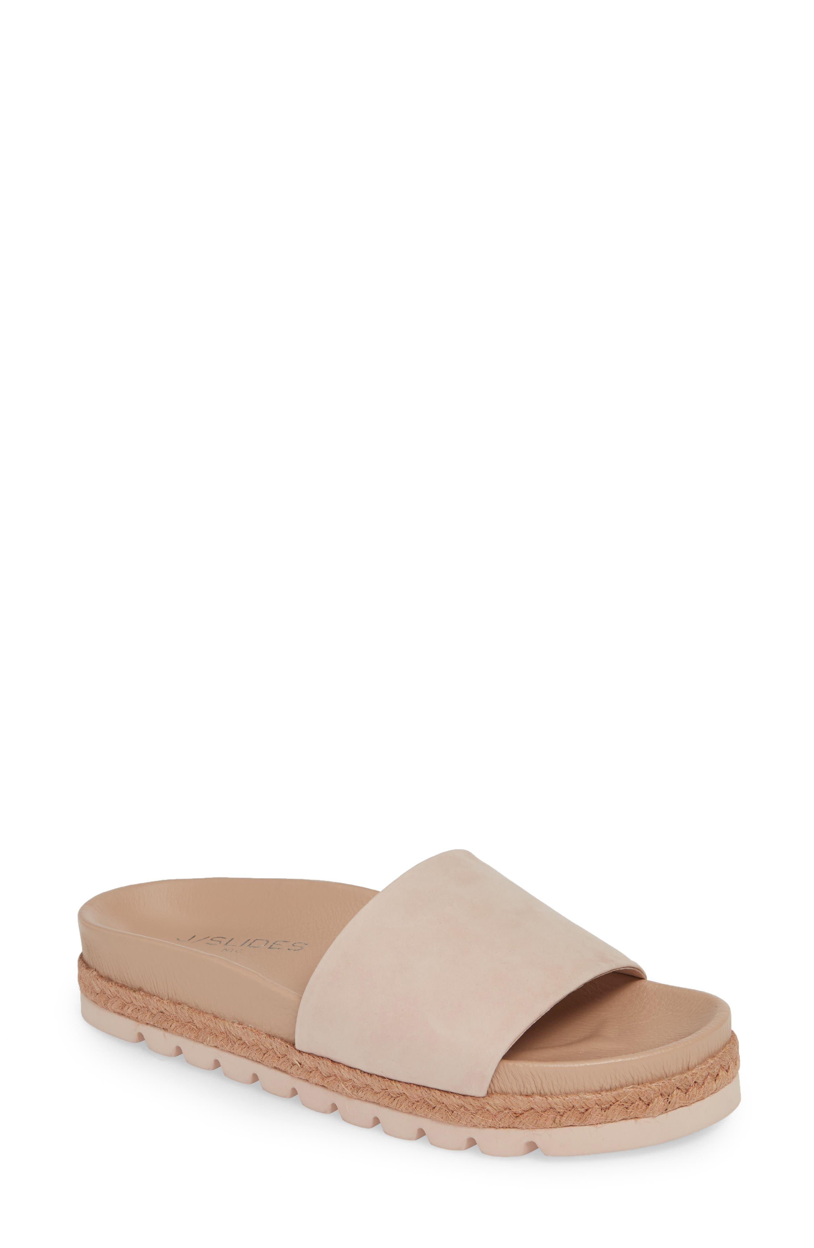 Jslides Espadrille Slide Sandal, Pink