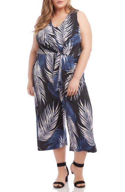 Image of Karen Kane Palm Print Tie Front Wide Leg Crop Jumpsuit