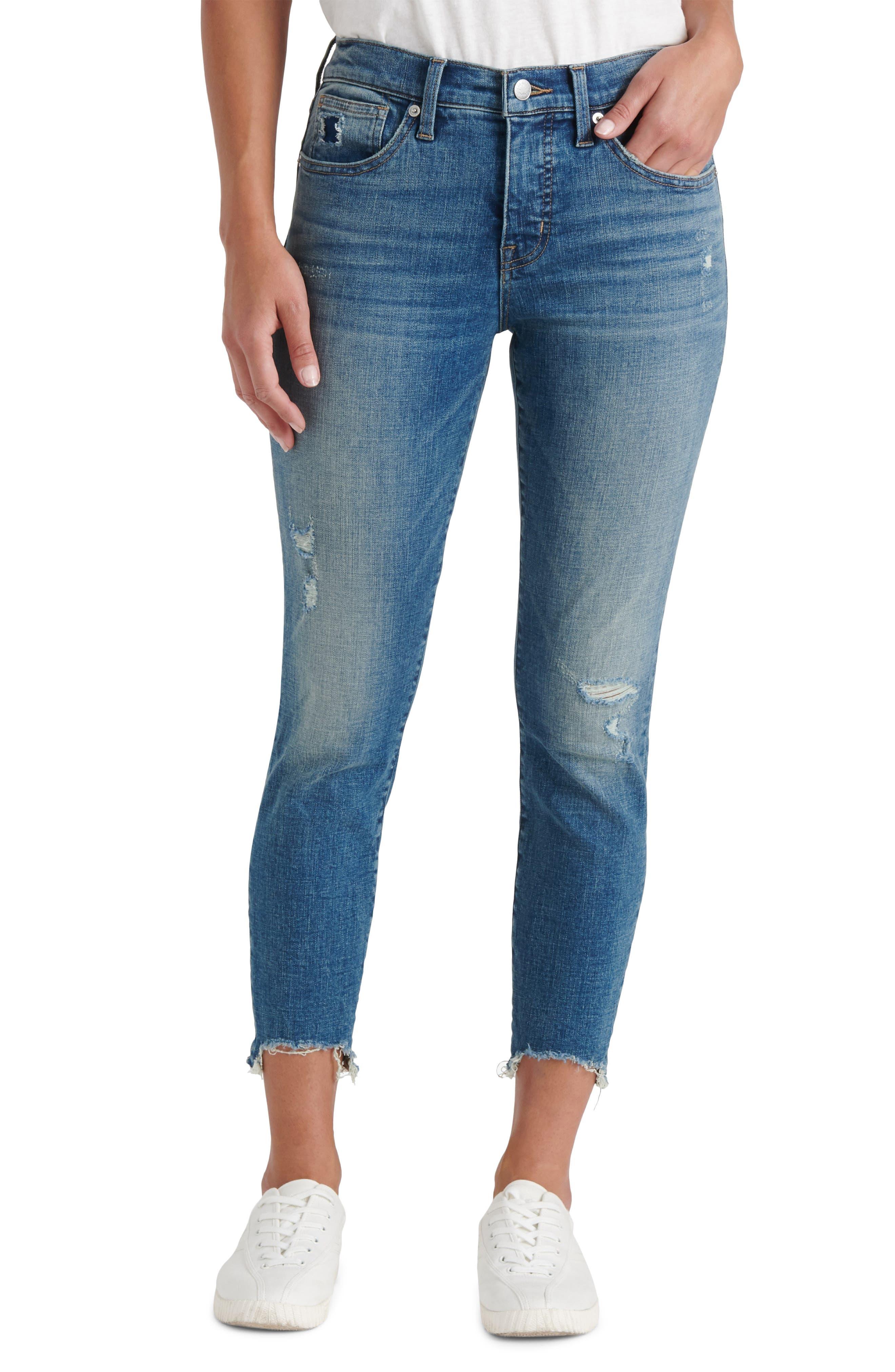 Ava Distressed Chewed Hem Crop Skinny Jeans