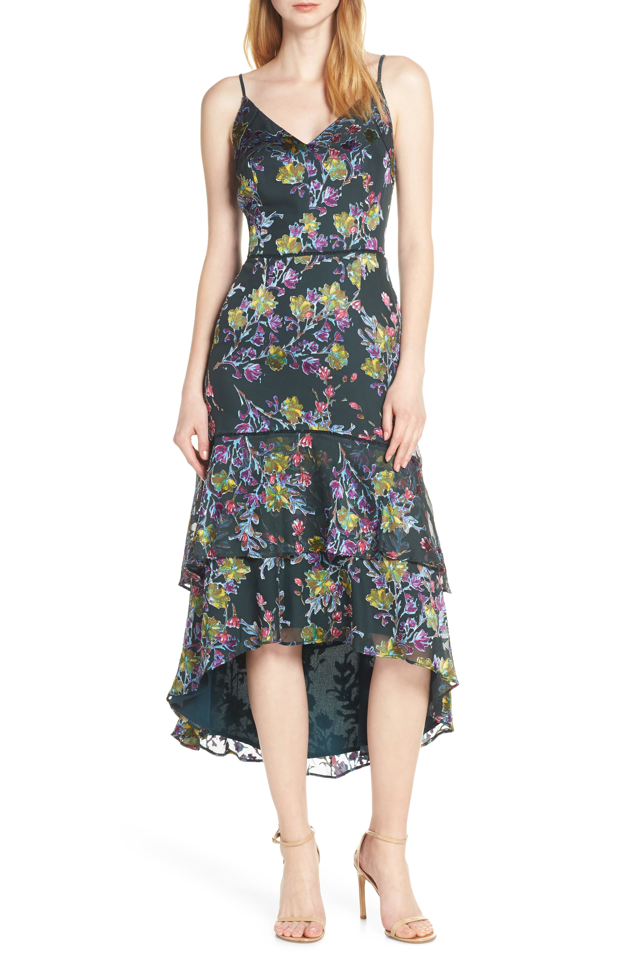 Harlyn Floral Tiered High/low Dress, Green