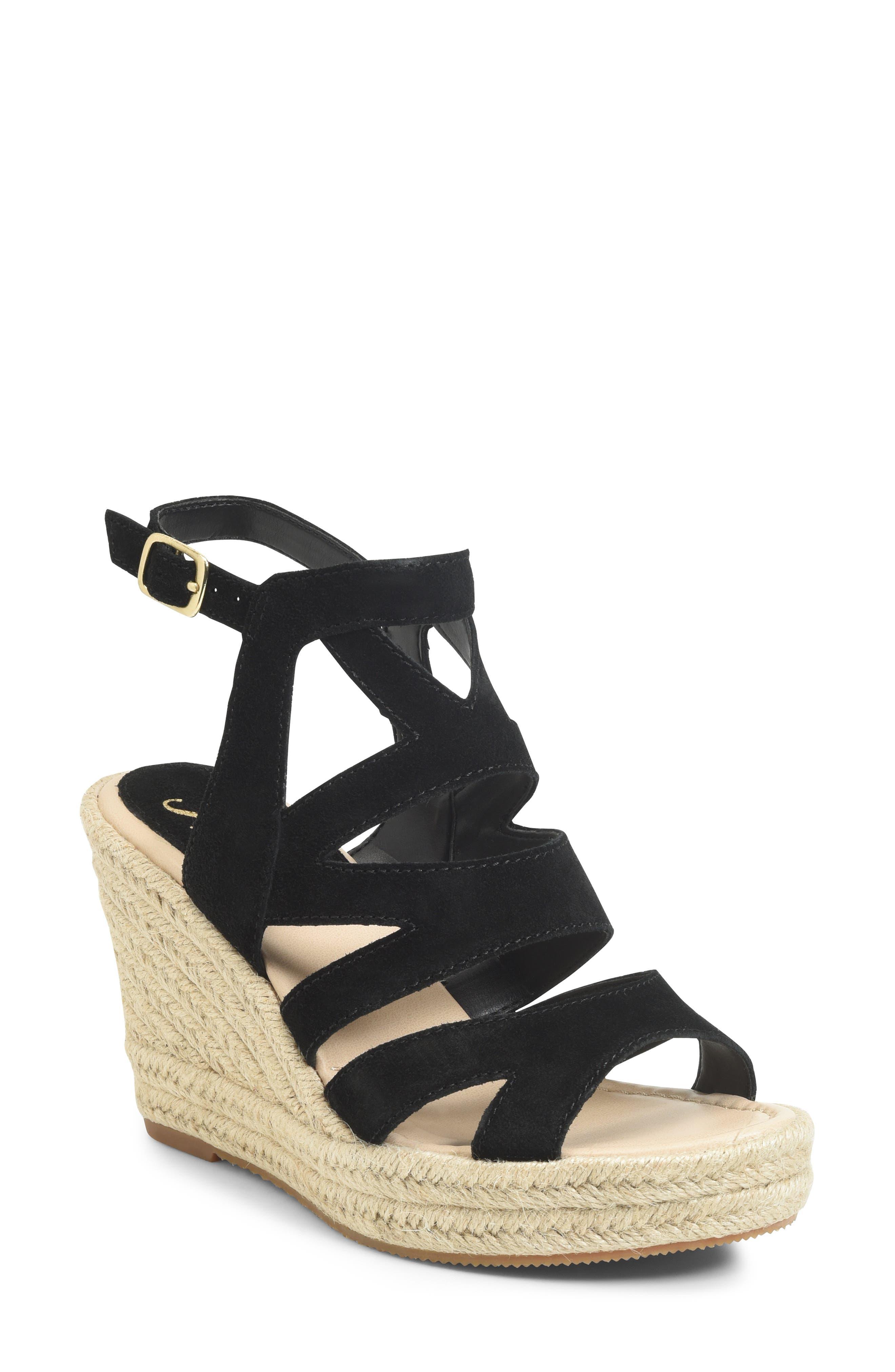 Shandys Wedge Sandal, Main, color, BLACK SUEDE