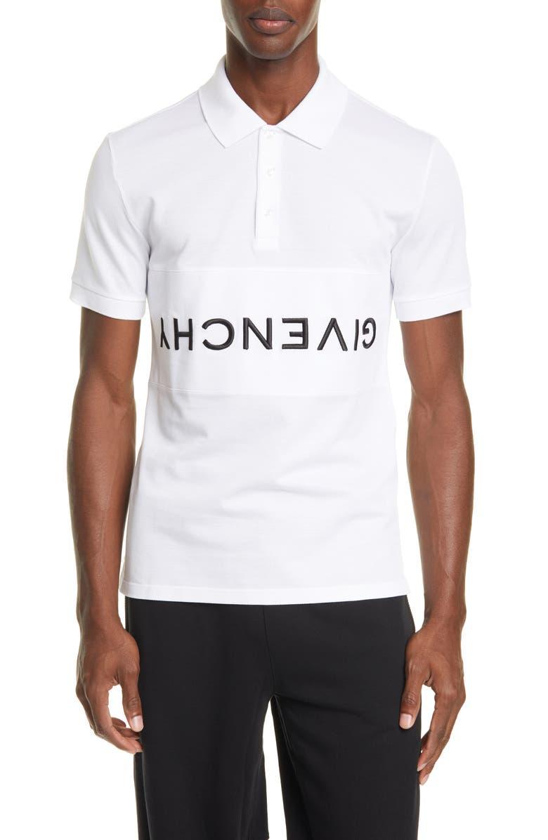 GIVENCHY Upside Down Logo Piqué Polo, Main, color, WHITE