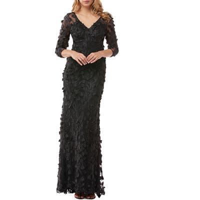 Carmen Marc Valvo Infusion 3D Flower Evening Dress, Black