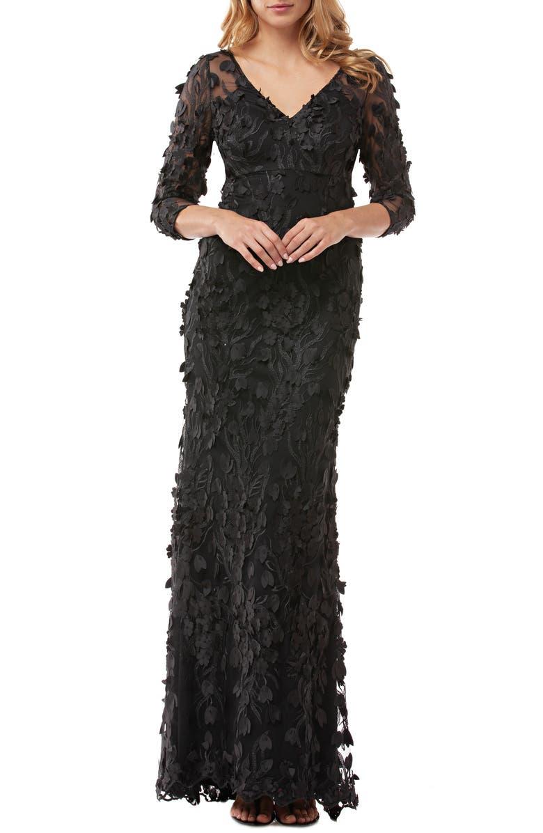 CARMEN MARC VALVO INFUSION 3D Flower Evening Dress, Main, color, BLACK