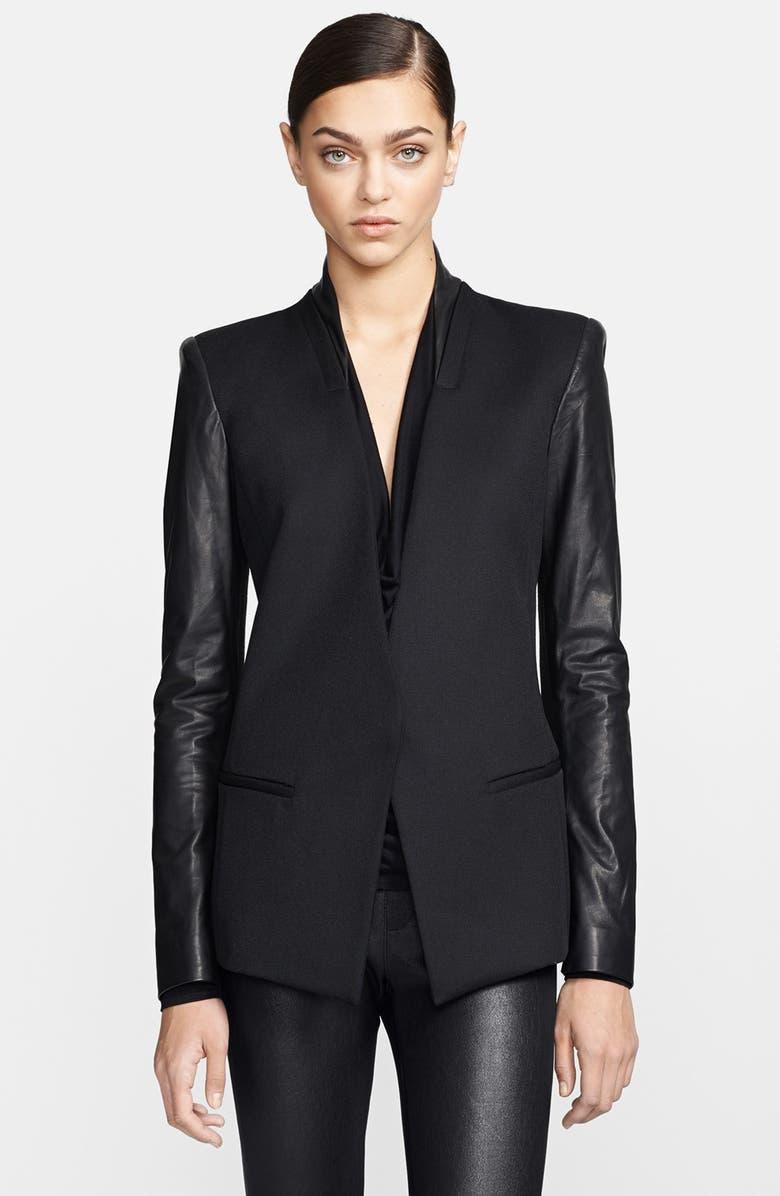 HELMUT LANG Leather Sleeve Virgin Wool Blazer, Main, color, 001