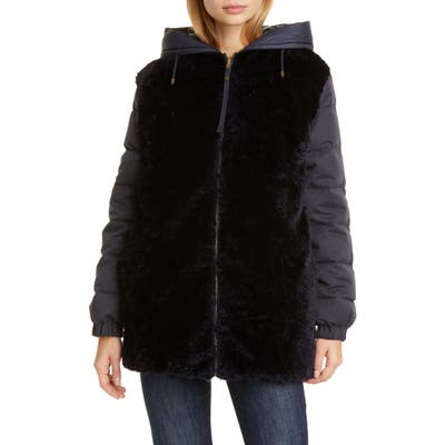 Mr & Mrs Italy Reversible Genuine Shearling Down Puffer Coat, Blue